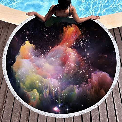 YongYeYaoBEN Gedruckt mit Quaste Decke 59 Zoll Meer Runde Badetuch Yoga Picknick Mikrofaser Muster große Matte 150cm (Color : 75, Size : 150CM)