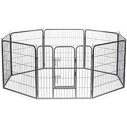 Dibea Parc/Enclos avec 1 Porte pour Chien/Chiot/Animaux de Compagnie Différentes Hauteurs 100 cm 8 Pièces