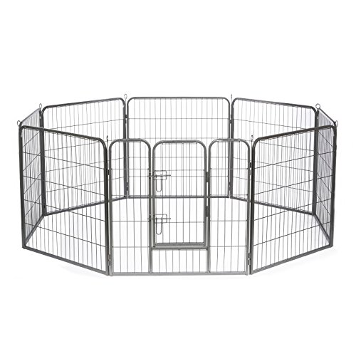 dibea FG00542, Welpenauslauf Laufstall Freilaufgehege für Hunde und Kleintiere, 8 - Elemente, höhe 100 cm