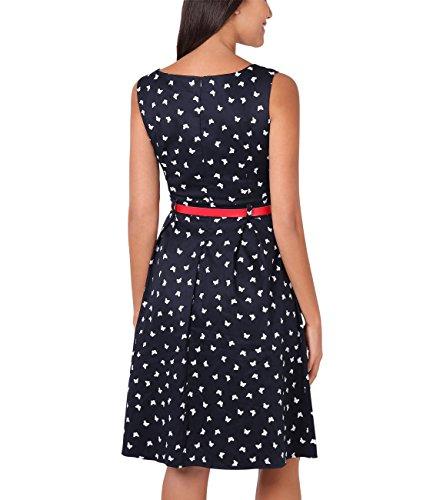 KRISP® Damen 50er Jahre Vintage Kleid Swing Midi Knielang Marineblau (6874)