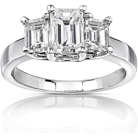 Moissanite, con taglio smeraldo, anello di fidanzamento con 3 pietre, 2 3/4 carato (ctw) in oro bianco 14 k