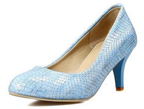 AllhqFashion Damen Spitz Zehe Ziehen Auf Mittler Absatz Pu Leder Rein Pumps Schuhe Blau