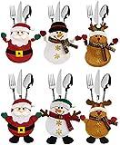 ziidoo 6 Pcs Bolsita para Cubiertos de Navidad, Muñeco de Nieve de Alces de Santa Claus, Decoración de Mesa