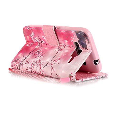 Custodia per iPhone 5, iPhone 5S, iPhone SE Custodia, con protezione per lo schermo in vetro temperato], fatcatparadise (TM) [Cavalletto] antigraffio Cover posteriore morbida in silicone, Colorful 3d  sakura