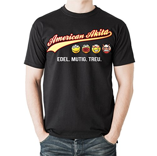 Siviwonder Unisex T-Shirt AMERICAN AKITA - OLD SCHOOL EDEL MUTIG TREU Hunde Schwarz