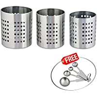 Kosma 3 Pc Set | Porta cubiertos cubiertos de acero inoxidable Caddy/cubertería | Utensilio