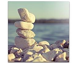 Paul Sinus Art Leinwandbilder | Bilder Leinwand 60x60cm Turm aus Steinen am Meer