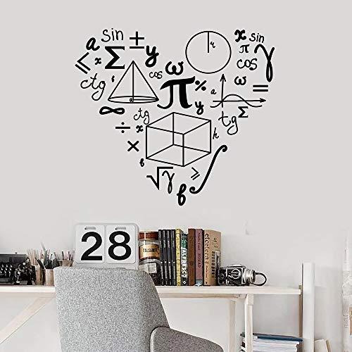 HNXDP Matematica Modello di amore Adesivi murali per la scuola Matematica Vinile Adesivo Decor Camera per ragazziDecorazionedell'aula Murales d'arte W40642x47cm