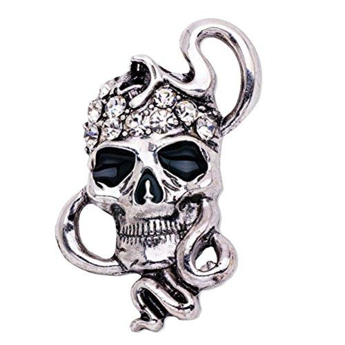 LUOEM Esqueleto Broche Pin Cráneo Insignia Gótica Broche Punk Regalo (Plata)