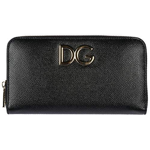 Dolce&Gabbana Damen Geldbörse Portemonnaie Echtleder Geldbeutel Bifold Schwarz
