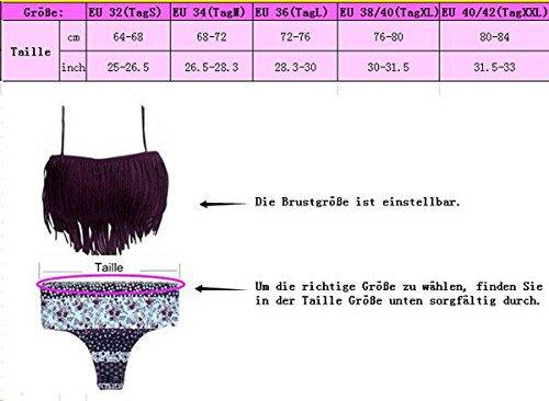 YaoDgFa Sexy Strand Damen Bikini mit Quaste Set Bademode Badeanzüge Bikinis für Frauen Mädchen Bandeau Zweiteilig Schwarz
