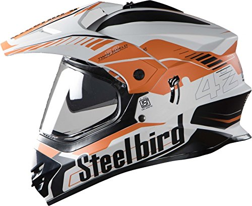 STEELBIRD SB-42 AIRBORNE MOTOCROSS HELMET GLOSSY FINISH WITH PLAIN VISOR (LARGE 600 MM, GLOSSY WHITE WITH ORANGE)