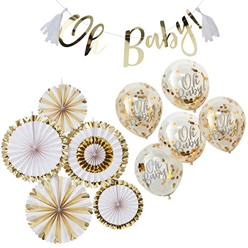 in due 11 Teile Dekorationsset Baby Party Girlande Oh Baby, Dekofächer & Luftballons - Gold Babyshower Baby Deko Tischdeko Geburtstag Deko-Rosetten Raumdeko (Babyshower Dekoration Für)