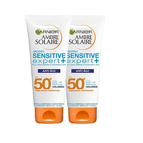 Garnier Ambre Solaire Crème Protectrice Anti-Âge Sensitive Expert+ FPS50+ 100 ml - Lot de 2