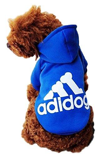 Ducomi Adidog HundeHoodie - Hunde Sweatshirt mit Kapuze aus weicher Baumwolle - Mantel Kleidung Pullover Haustier Welpen T-Shirt - Größen erhältlich von XS bis 8XL (6XL, Blau)