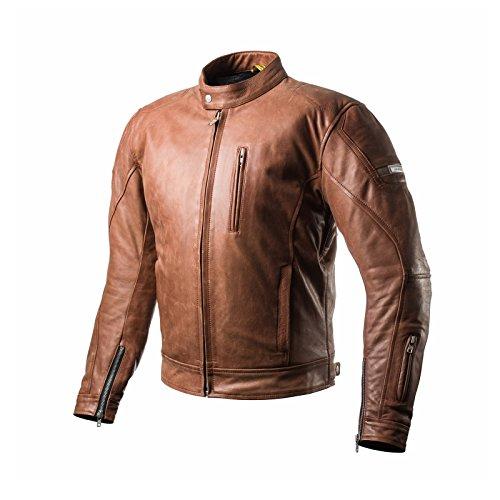 Shima HUNTER BROWN, Herren Leder Motorradjacken Rückenprotektor Vintage Retro Sommer (S-XXL), Braun, L