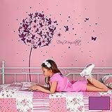 Wandtattoo Sticker Pusteblume mit Elfen Feen Schmetterlingen Blumen Punkten Sternen und Wunschtext M2056 - ausgewählte Farbe: *Lavendel* ausgewählte Größe: *S - 110cm breit x 105cm hoch*