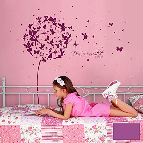 ilka parey wandtattoo-welt® Wandtattoo Wandaufkleber Wandsticker Aufkleber Sticker Pusteblume mit Elfen Feen Schmetterlingen Blumen Punkten Sternen und Wunschtext M2056 - ausgewählte Farbe: *lavendel* ausgewählte Größe: *M - 126cm breit x 120cm hoch*