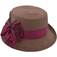 EOZY Sombrero de Paja con Arco de Vestir para Mujer 91005d72d73