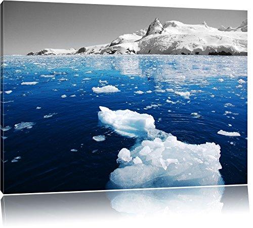 Eisbrocken im blauen Meer der Arktis schwarz/weiß Format: 120x80 auf Leinwand, XXL riesige Bilder fertig gerahmt mit Keilrahmen, Kunstdruck auf Wandbild mit Rahmen, günstiger als Gemälde oder Ölbild, kein Poster - Frost Eisbrecher