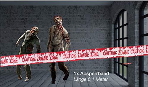 TK Gruppe Timo Klingler 1x Absperrband blutig Absperrung Band 6,1 Meter ALS Dekoration Deko an Halloween Halloweendeko Party  Caution Zombie Zone - 2