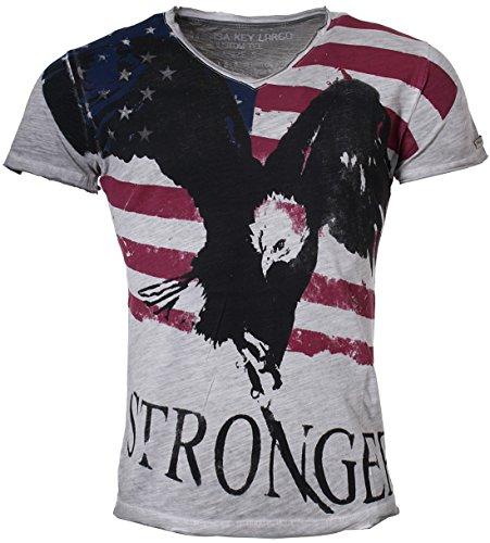Key Largo Herren T-Shirt Dreamer slim fit tailliert tiefer V-Ausschnitt vintage used destroyed Look USA Amerika Fahne Adler Druck Printshirt T00718 Grau