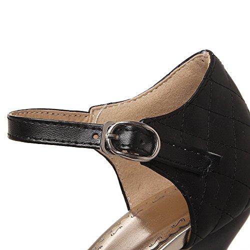 AllhqFashion Femme Couleur Unie Pu Cuir Stylet Pointu Tire Chaussures Légeres Noir