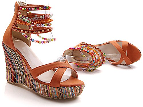 Odema sandal boemi con perline e con tacco grosso da donna Arancione