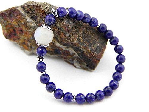 pa052014–Agathe Creation Tibetanisches Glücksarmband Perle Zentralbank Pierre de Lune. Silber 925–Steine Lapislazuli Natürliche Durchmesser 6mm–Farbe blau–Größe passgenau–handgefertigt