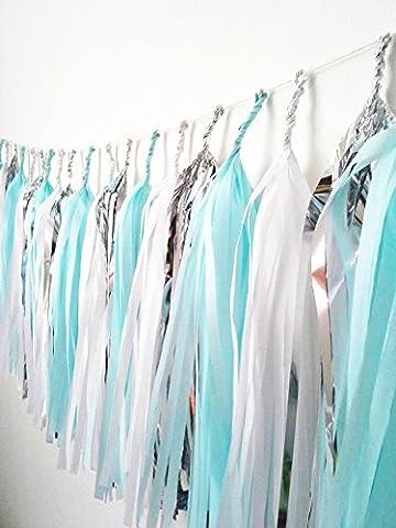 15x Bleu Blanc Argent papier de soie pompons pour fête de mariage Doré Guirlande fanions Pom Pom
