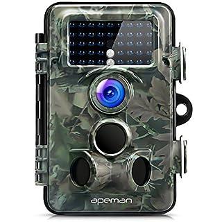 apeman Wildkamera 12MP 1080P mit 130 ° Weitwinkelobjektiv 120 ° Erkennung mit Infrarot 20m Nachtsicht Jagdkamera mit IP66 wasserdicht