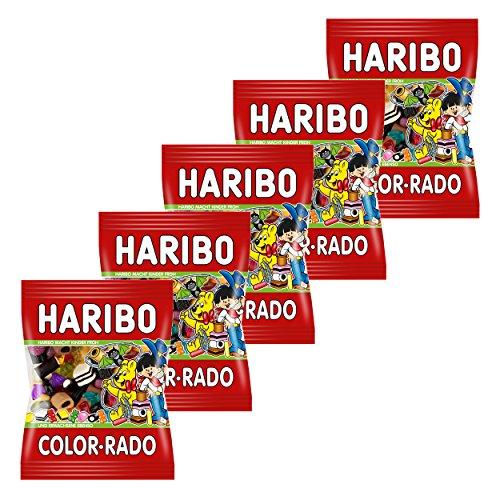 Haribo Color-Rado, 5er Pack, Colorrado, Fruchtgummi, Weingummi, Gummibärchen, Lakritz, Lakritzmischung, Im Beutel, Tüte