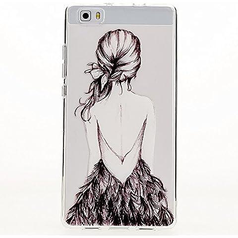 delightable24 Caso Case de la Cubierta de TPU Silicona HUAWEI P8 LITE Smartphone - Bird Princess