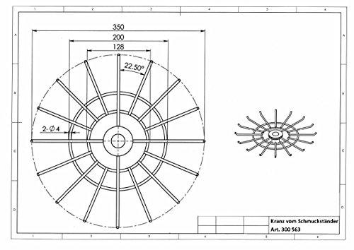 Schmuckständer Tischständer drehbar mit 2 Kränzen 16 Haken