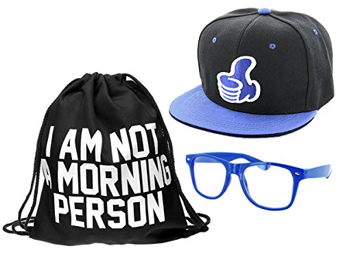 Alsino Hipster Outfit 'I am not a Morning Person' mit Snapback Cap Nerd Brille und Hipster Turnbeutel in blau Hip 3