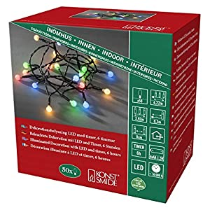 Konstsmide 1492-507 LED Berry Globe Light Chain with Round Diodes/For Indoor Use (IP20) / Battery Operated: 3xAA 1.5V (excl.) / 6h Timer / 20 Multi Coloured Diodes/Black Cable