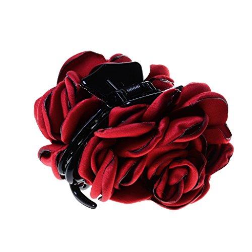 Mode Femme Bandeaux En Tissu Forme Fleur Grand Barrette Pince Claw Accessoires - Rouge Du vin