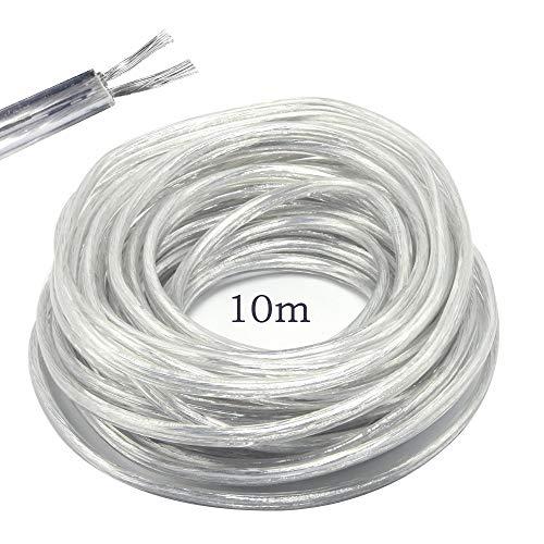 LumenTY Elektrischer Draht / 2-adriges Flach-PVC-Netzkabel, Kupferdraht, Hohe Temperaturbeständigkeit, 2 x 0,75 mm2 Stromkabel, Twin - 10 m Schnittlänge, Flexibles Teichkabel, Transparent -