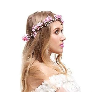 Valdler Corona Floreale Ghirlande di fiori Capelli Elegante Spiaggia Rosa