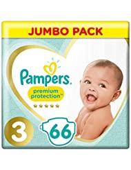 Pampers Premium Protection, Jumbo Pack, Soft Comfort, Approved by British Skin Foundation, Size 3, 6-10kg, 66 Nappies