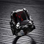 Men Ring Titanium Steel Vintga Classic Red Diamond Ring for Male US8 mr8