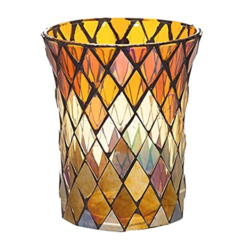 Yellow and Brown Harvest Mosaic Glass Decorative Candle
