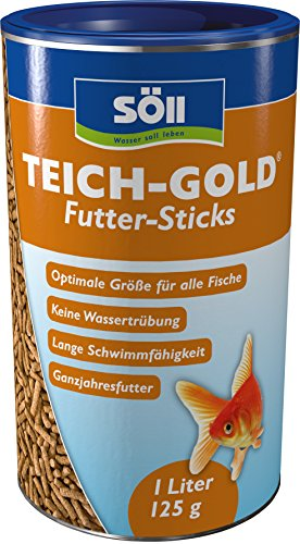 Söll 60100 TeichGold Futter-Sticks - Alleinfuttermittel für alle Teichfische - schwimmfähige Teichsticks – 1l