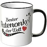 Wandkings® Tasse, Spruch: Bester Patenonkel der Welt - SCHWARZ