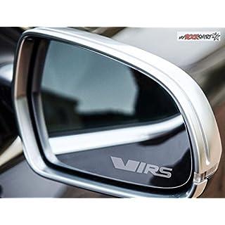 2 x Skoda Fabia Octavia VRS silber für Außenspiegel Spiegel Scheibe Glas Milchglas Frost Frostfolie Effekt Frost Milch Gravur Aufkleber aus Hochleistungsfolie für alle glatten Flächen von myrockshirt®