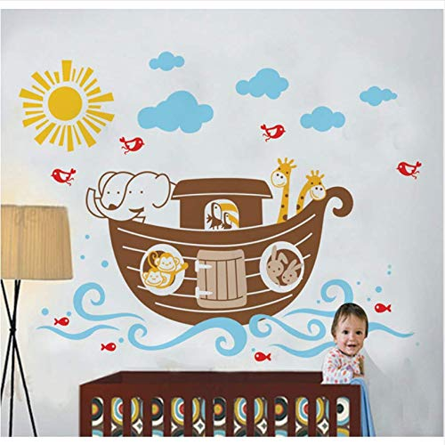 ufkleber Cartoonwall Aufkleber Cartoon Schiff Sonne Hause Vorschule Spiel Klassenzimmer Badezimmer Dekoration Wandtattoos 60 * 80 Cm ()
