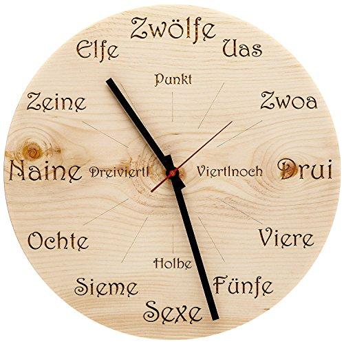 Huamet U4101 Holz-Wanduhr Zirbe Dialekt Rund