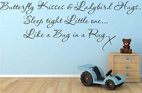 Farfalla baci & abbracci coccinella da parete citazione decalcomania Boy Love DIY camera B9, Black, 1630mm x 580mm