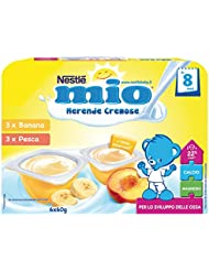 Nestlé Mio Merenda Cremosa Banana e Pesca da 8 Mesi, senza Glutine - 6 Vasetti Plastica da 60 gr