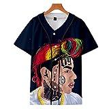 SCYTSD Sweatshirt Unisex 3D Digital Printing 6ix9ine Kurzarm-Baseballuniform-T-Shirts für Pullover Souvenir,4,M